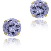 Mondevio 14k Gold Cubic Zirconia Round Lavender Stud Earrings