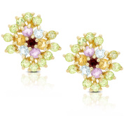 Dolce Giavonna Gold Over Sterling Silver Multi Gemstone Stud Earrings