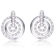 Collette Z Sterling Silver Clear Cubic Zirconia Triple Circle Earrings