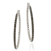 DB Designs Sterling Silver Black Diamond Accent Hoop Earrings