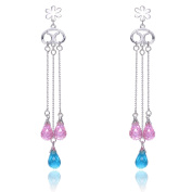 Collette Z Sterling Silver Pink and Blue Cubic Zirconia Chain Earrings