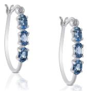 Dolce Giavonna Sterling Silver London Blue Topaz Hoop Earrings