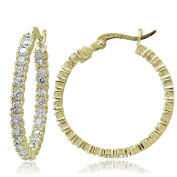 ICZ Stonez 18k Gold over Sterling Silver 25mm Inside and Out CZ Hoop Earrings