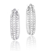 Crystal Ice Silvertone Crystal Inside Out Square Hoop Earrings with Elements