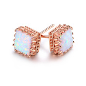 Peermont Jewellery Rose Gold Plated White Fire Opal Square Crown Stud Earrings