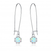 Peermont Jewellery Gold Plated White Fire Opal Crown Dangling Earrings