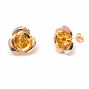 Peermont Jewellery Gold Plated Gold and Silver Flower Stud Earrings