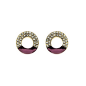 Isla Simone Gold Plated Antique Pink and White Open Circle Stud Earrings
