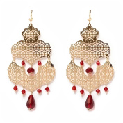 Peermont Jewellery Gold Plated Gold and Simulated Ruby Drop Earrings