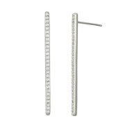 World Trade Jewellers Sterling Silver CZ Women's Long Stick Stud Earring