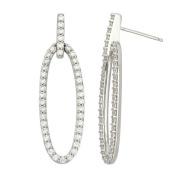 World Trade Jewellers Sterling Silver Cubic Zirconia Open Oval Long Dangle Earrings