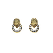 Isla Simone Golden Shadow And White Ringed Teardrop Stud Earrings, Made With Swarovs