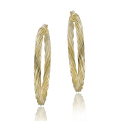 Mondevio Gold Over Silver Corrugated Hoop Earrings