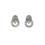 Isla Simone Rhodium Plated Silver Shadow and White Ringed Teardrop Stud Earrings, Made with Crystals