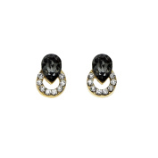 Isla Simone Gold Plated Black and White Ringed Teardrop Stud Earrings