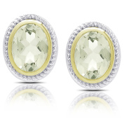 Dolce Giavonna Sterling Silver Oval Green Amethyst Stud Earrings