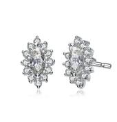 RelavenO Sterling Silver Cubic Zirconia Oval Shape Earrings