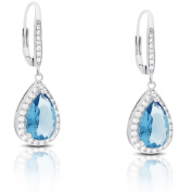 Dolce Giavonna Silver Overlay Cubic Zirconia and Simulated Blue Topaz Teardrop Dangle Earrings