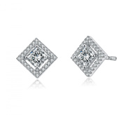RelavenO Sterling Silver Cubic Zirconia Square Shape Earrings