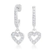Collette Z Sterling Silver Clear Cubic Zirconia Small Heart Drop Earrings