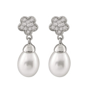 Gilo Creations Sterling Silver Pearl and Cubic Zirconia Flower Cluster Dangling Earrings