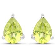 Malaika .925 White Sterling Silver 1.33-carat Genuine Green Peridot Earrings