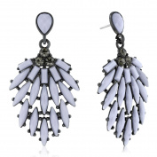 Adoriana Cascading Crystal Earrings, Grey