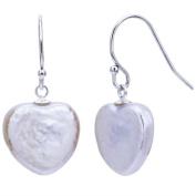 DaVonna Sterling Silver White Heart-shape Pearl Dangle Earrings