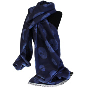 Unisex Rich Kid Skull Scarf - Navy and Blue