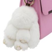 80Store 13CM Fluffy Rabbit Keychain Cute Lovely Nature Fur Bunny Doll Key Ring Decor for Women's Handbag Car Pendant Gift