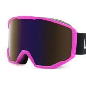 Uxcell Ski Snowboard Goggles Double Lens UV400 Adjustable Strap Purple