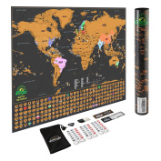 Scratch Off World Map Poster - with US States and Country Flags, Track Your Adventures. Includes Scratcher and Memory Stickers, Perfect Gift for Travellers, By Earthabitats