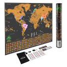 Scratch Off World Map Poster - with US States and Country Flags