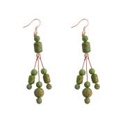 7.6cm Green Simulated Turquoise Bead Handmade Dangle Chandelier Earrings 7.6cm
