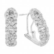 LONDON FINE jewellery 14K WHITE GOLD 0.98 CWT OVER-LAP EARRINGS