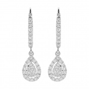 LONDON FINE jewellery 14K WHITE GOLD 0.60 CWT PEAR SHAPED DANGLING EARRING