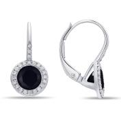 14K White Gold Black Onyx and Diamond Earrings, Features 1.18 Carats of Black Onyx and 0.13 Carats of Diamonds
