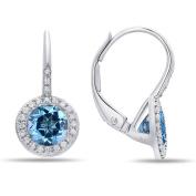 14K White Gold Blue Topaz and Diamond Earrings, Features 1.18 Carats of Blue Topaz and 0.13 Carats of Diamonds