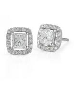 14K White Gold Princess Halo Diamond Studs with 2.5CT of Total Diamond Weight