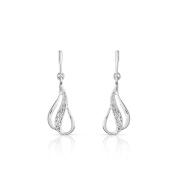 Trillion Designs 10K White Gold 0.04 CT Round Cut Natural Diamond infinity Drop Earring HI I2