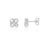 Trillion Designs 10K White Gold 1/10 CT Round Cut Real Diamond Infinity Love Knot Stud Earrings HI I2