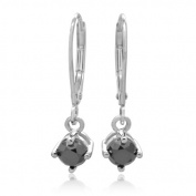 14K White Gold with a 0.63 CTTW Black Diamond Fashion Earring