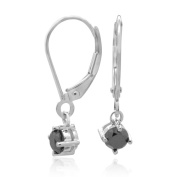 14K White Gold with a 0.88 CTTW Black Diamond Earring