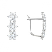 14K White Gold Birthstone Leverback Earrings with White Brilliant cut CZ