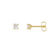 Trillion Designs 10K Yellow Gold 0.22 CT Round Cut Natural Diamond Push Back Stud Single Stone Earring HI I2