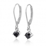 14K White Gold with a 0.38 CTTW Black Diamond Fashion Earring