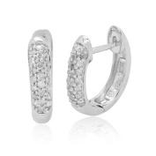 10K White Gold 0.25 CTTW Diamond Hoop Earring