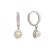 14K White Gold Huggies Earrings