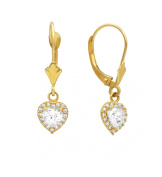 14K Yellow Gold Birthstone Leverback Earrings with CZ