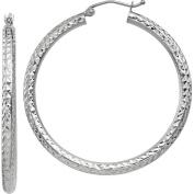 10k White Gold Diamond-cut 3mm Round Hoop Earrings